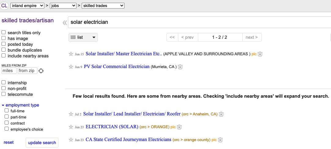 Craigslist solar electrician search
